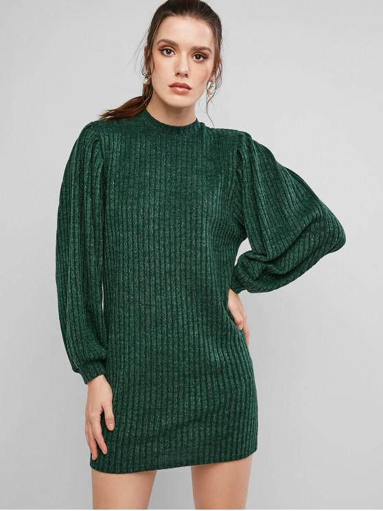womens ZAFUL Lantern Sleeve Ribbed Mini Sweater Dress - DEEP GREEN M