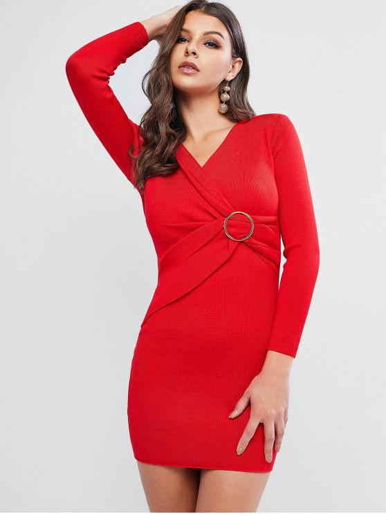 best O Ring Belt Knitted Bodycon Dress - RED ONE SIZE