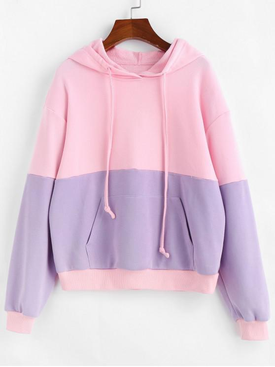 women ZAFUL Two Tone French Terry Hoodie - PIG PINK L