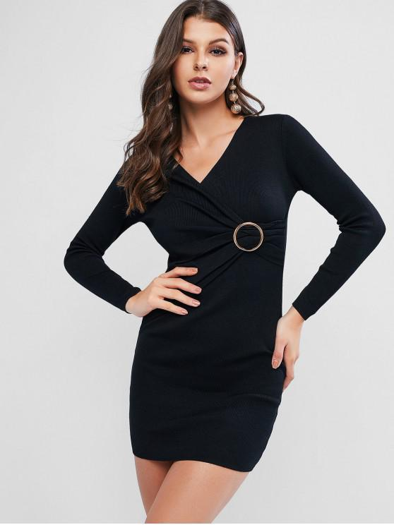 shops O Ring Belt Knitted Bodycon Dress - BLACK ONE SIZE