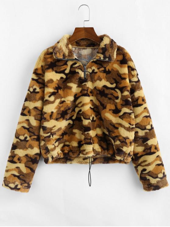 ZAFUL Sweat-shirt Camouflage à Demi-Zip en Fausse Fourrure - Camouflage de Trois Sable M