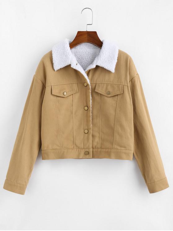 affordable ZAFUL Fleece Lining Drop Shoulder Button Up Jacket - KHAKI L