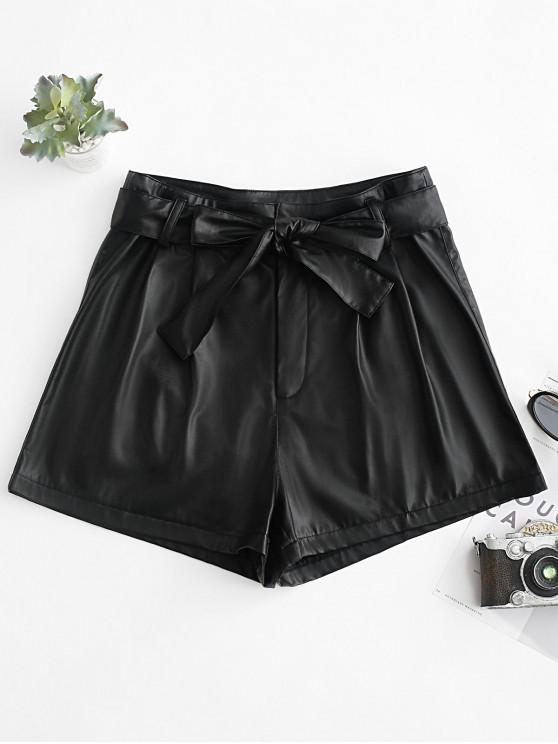 fancy ZAFUL Belted PU Leather High Waisted Shorts - BLACK L