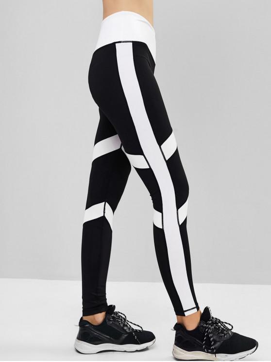 fancy Two Tone Topstitching High Waist Sports Leggings - BLACK M