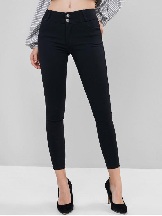 latest Mid Rise Two Buttoned Pockets Leggings - BLACK S