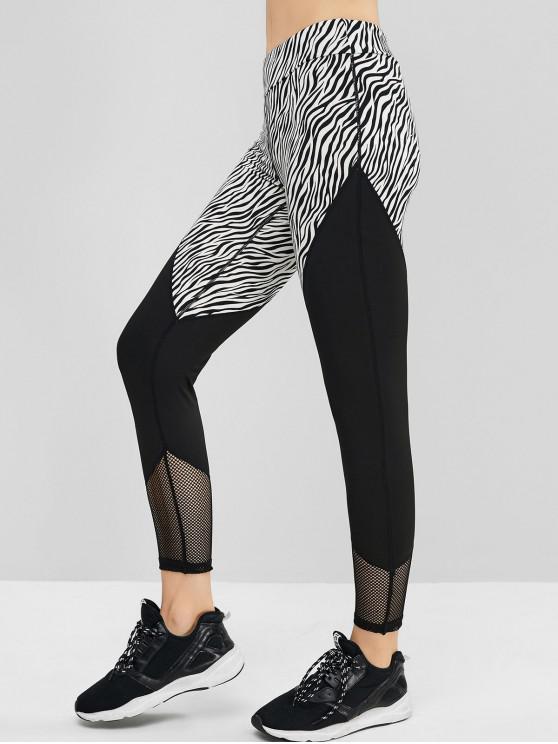 Cópia da zebra Painel Fishnet Contraste Sports Leggings - Multi-A L