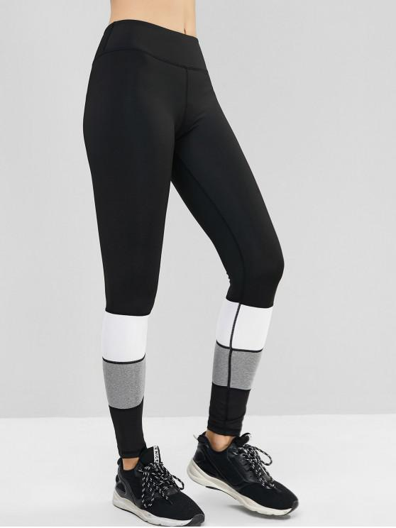 women's Colorblock Topstitching High Waist Track Leggings - BLACK S