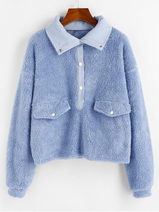 best ZAFUL Drop Shoulder Solid Pullover Teddy Sweatshirt - BLUE GRAY M