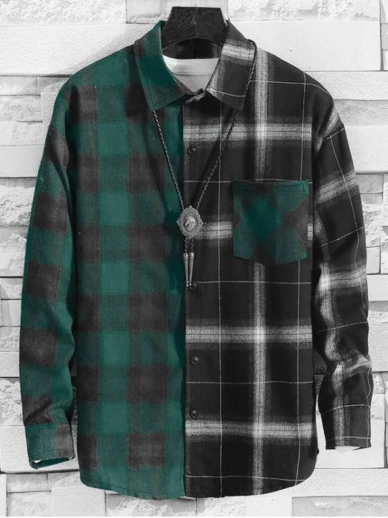 shop Plaid Pattern Color Spliced Casual Shirt - MULTI-B S