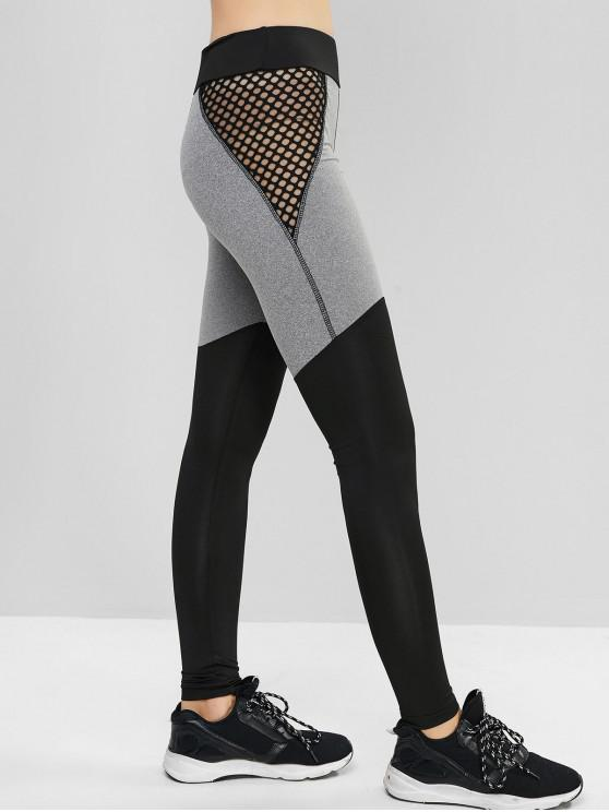 women's Fishnet Panel Contrast High Waist Sports Leggings - BLACK S