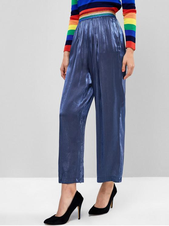 womens Metallic Thread Rainbow Striped Wide Leg Palazzo Pants - BLUE L