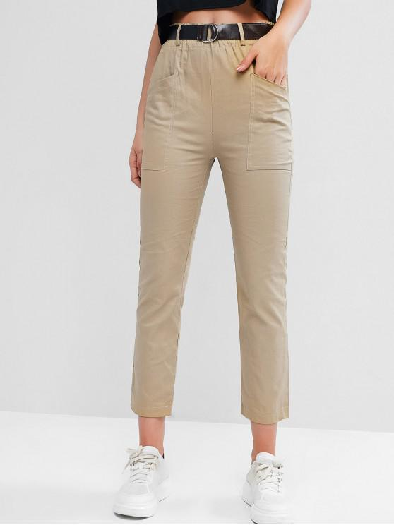 best High Waisted Pocket Belted Pencil Pants - LIGHT KHAKI L