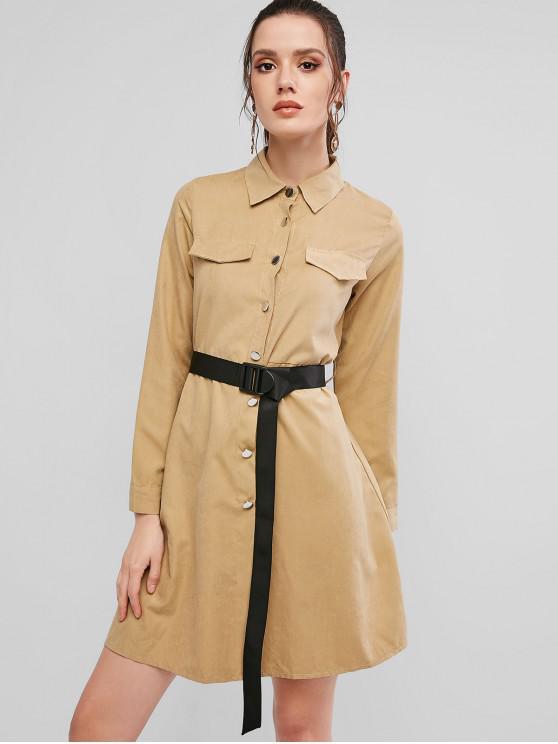 fashion Button Down Long Sleeve Belted Shirt Dress - LIGHT KHAKI XL