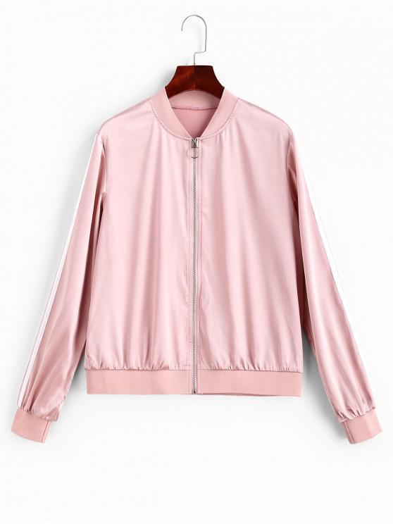 ZAFUL Молния впереди Полосатая Куртка-Бомбер - Розовый M