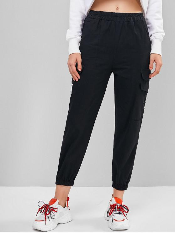 shop Distressed Letter Cargo Jogger Pants - BLACK XL