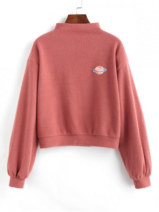 trendy ZAFUL Planet Embroidered Drop Shoulder Knit Sweatshirt - LIGHT CORAL S