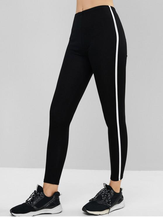 fancy Pull On Contrast Tape Mid Rise Leggings - BLACK ONE SIZE