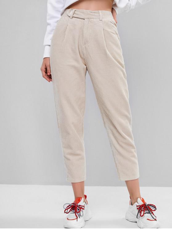 women's Corduroy Pocket Pencil Zip Fly Pants - WARM WHITE L
