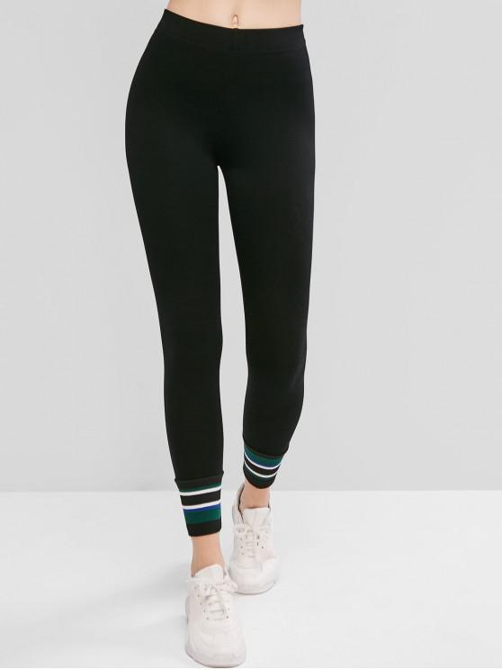 fashion Striped Ankle 7/8 Leggings - BLACK L