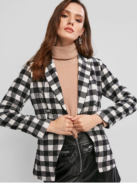 women's ZAFUL Plaid Wool Blend Pocket Blazer - MULTI-A L