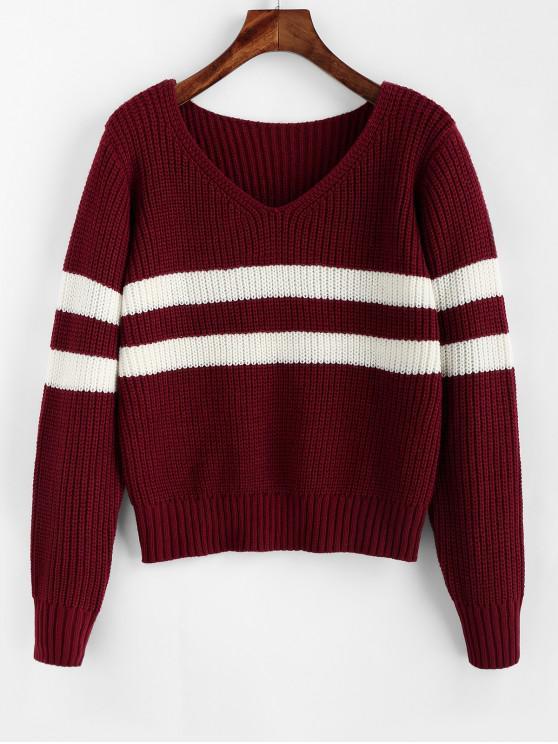 new ZAFUL Striped V Neck Jumper Sweater - RED WINE M