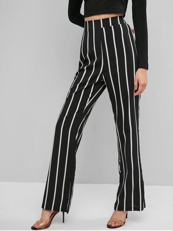 outfit Striped Zip Back High Waisted Flare Pants - BLACK XL