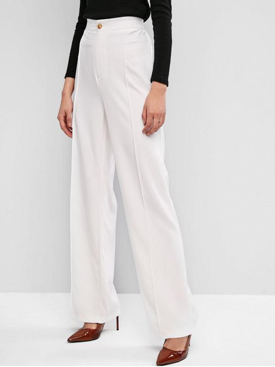 best High Waisted Wide Leg Work Pants - WHITE L