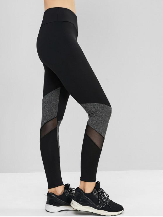 outfits Pull On Colorblock Mesh Panel Leggings - DARK GRAY L