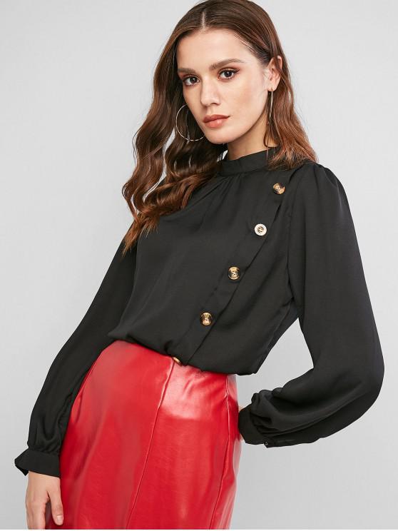 fashion Keyhole Back Mock Button Crew Neck Blouse - BLACK M