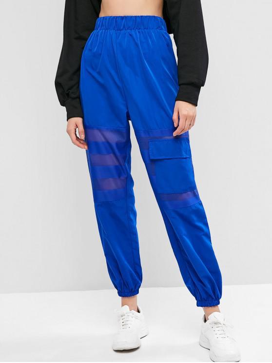 fashion Fishnet Panel Pocket High Waisted Jogger Pants - BLUE L