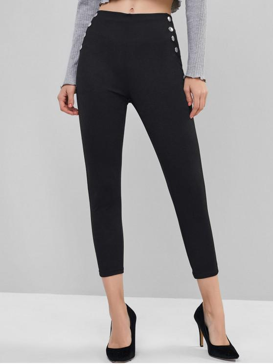sale Pull On Buttoned Side Mid Rise Leggings - BLACK L
