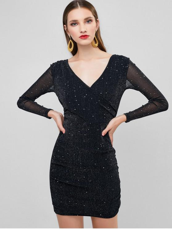 online Glitter Plunging Ruched Bodycon Party Dress - BLACK S
