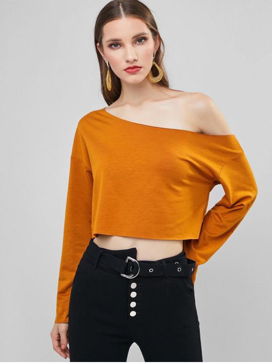 ZAFUL Sweat-shirt Court Goutte Epaule à Col Oblique - Brun Légère L
