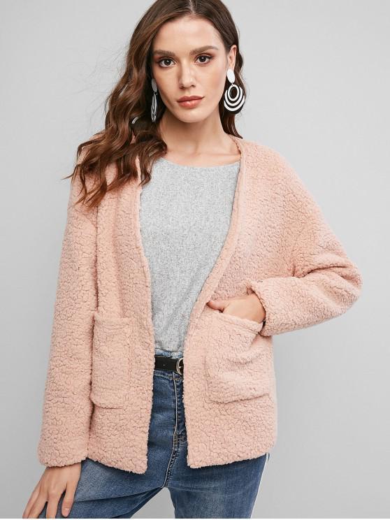 shop ZAFUL Faux Shearling Teddy Pocket Drop Shoulder Coat - SAKURA PINK XL