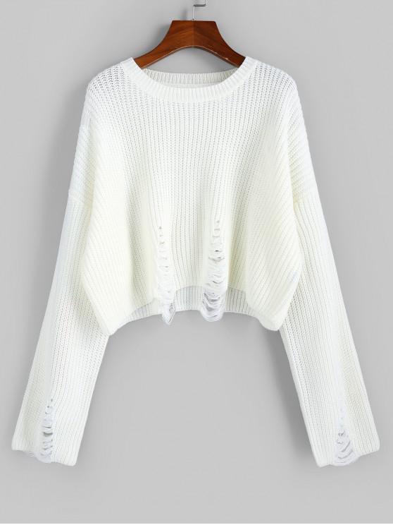 sale ZAFUL Distressed Drop Shoulder Jumper Sweater - WHITE M