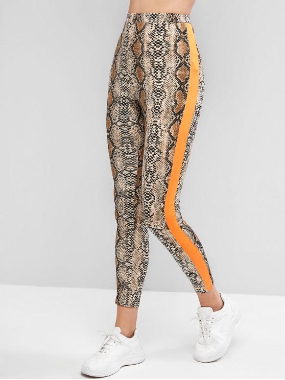 sale ZAFUL Snakeskin Print Contrast Skinny Leggings - MULTI M