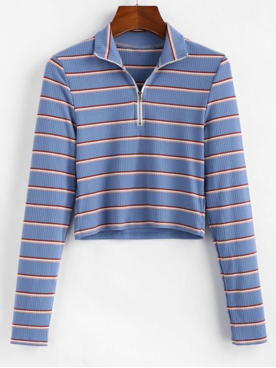 ladies ZAFUL Half-zip Striped Crop Top - MULTI L