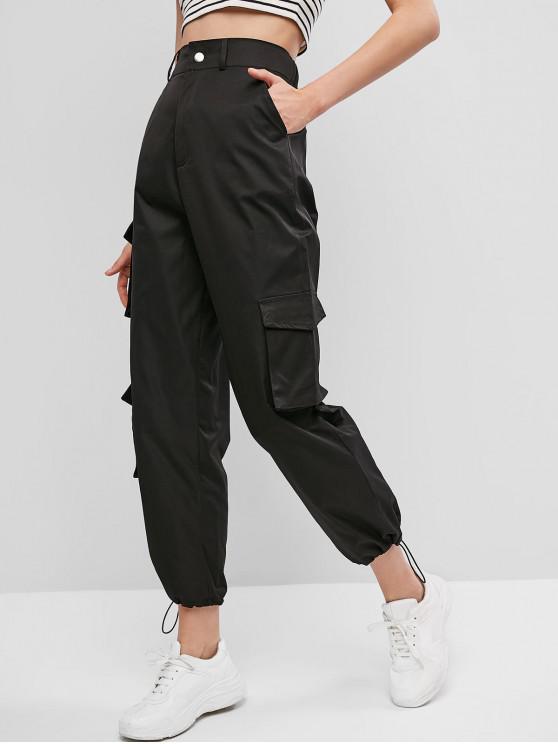 women Pockets Zipper Fly Drawstring Pants - BLACK L