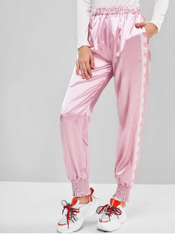 unique High Waisted Heart Graphic Seam Pockets Jogger Pants - PINK S