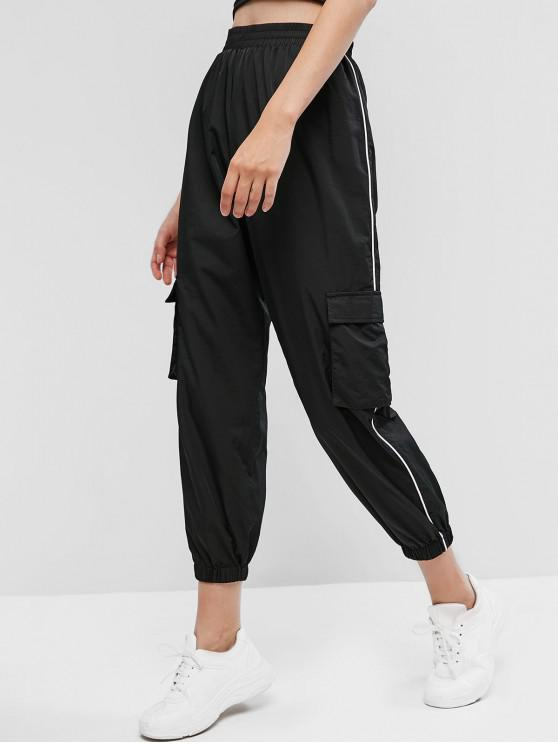 outfits ZAFUL Contrast Piping Pocket Windbreaker Pants - BLACK M