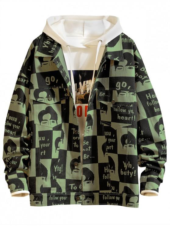sale Cartoon Letter Pattern Button Up Casual Jacket - ARMY GREEN L