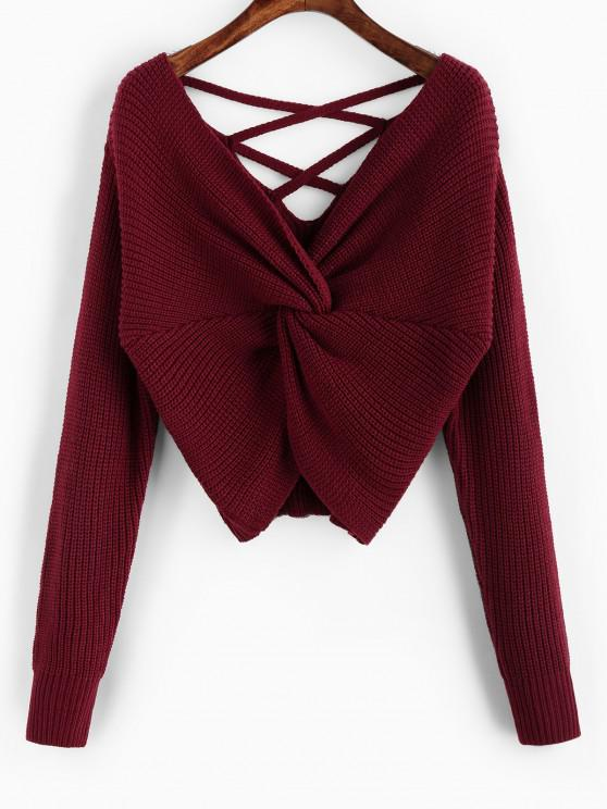 lady ZAFUL Twisted Criss Cross Drop Shoulder Sweater - RED WINE M