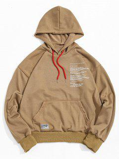 Letter Texting Graphic Kangaroo Pocket Drawstring Hoodie - Wood S
