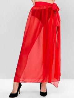 Sheer Tie Maxi Wrap Skirt - Lava Red