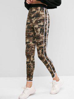 ZAFUL Camo Striped Side Skinny Leggings - Multi M
