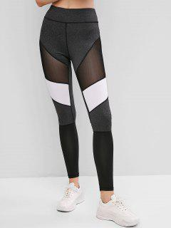 Colorblock Mesh Insert Topstitching Leggings - Multi M