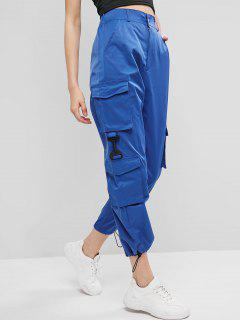 Pockets Zipper Fly Drawstring Pants - Blue L