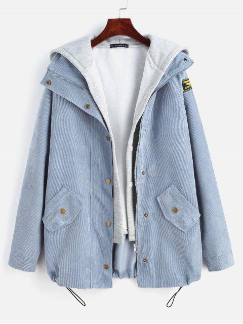 fashion ZAFUL Fleece Vest and Corduroy Jacket Twinset - SLATE BLUE M Mobile