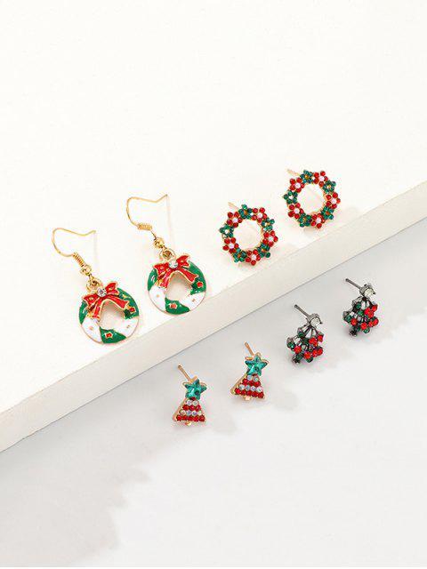 4 пара Рождественская елка Серьги в сборе - Многоцветный  Mobile