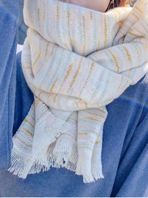 shops Winter Faux Woolen Thick Tassel Scarf - BEIGE  Mobile